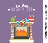 christmas fireplace with gifts... | Shutterstock .eps vector #517400785