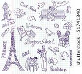 paris doodles. french cuisine. | Shutterstock .eps vector #51741340