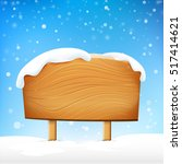 wooden sign blank board and... | Shutterstock .eps vector #517414621