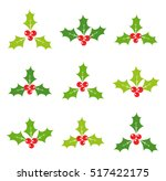 holly berries set of icons.... | Shutterstock .eps vector #517422175