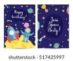 happy birthday cartoon greeting ... | Shutterstock .eps vector #517425997