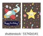happy birthday cartoon greeting ... | Shutterstock .eps vector #517426141