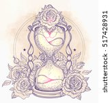decorative antique hourglass... | Shutterstock .eps vector #517428931