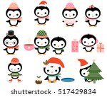 cute christmas penguins with... | Shutterstock .eps vector #517429834