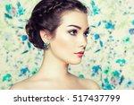portrait of young beautiful... | Shutterstock . vector #517437799