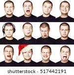 man. set of different facial... | Shutterstock . vector #517442191