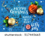 christmas vector blue card with ...   Shutterstock .eps vector #517445665