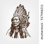 leader of the indians. portrait.... | Shutterstock .eps vector #517446211