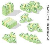 isometric dollars bundles... | Shutterstock .eps vector #517446967