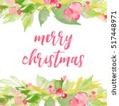 merry christmas background with ... | Shutterstock . vector #517448971