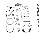 collection of vector handdrawn... | Shutterstock .eps vector #517449985