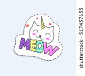 cartoon cat unicorn and title... | Shutterstock .eps vector #517457155