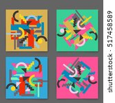 vector set retro cards with... | Shutterstock .eps vector #517458589