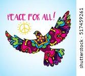 psychedelic peace bird dove... | Shutterstock .eps vector #517459261