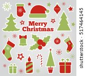 christmas festive stickers.... | Shutterstock .eps vector #517464145