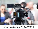 tv interview. news conference. | Shutterstock . vector #517467721