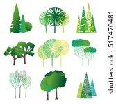 set of different trees.... | Shutterstock . vector #517470481