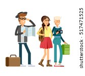 happy young people traveling...   Shutterstock .eps vector #517471525