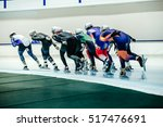 Small photo of women speed skaters mass start competitions in speed skating
