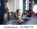 makeup artist makes evening... | Shutterstock . vector #517481779