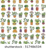colorful plant in pot flower in ... | Shutterstock .eps vector #517486534