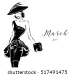 black and white fashion woman...   Shutterstock .eps vector #517491475