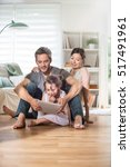 at home  cheerful family  dad ... | Shutterstock . vector #517491961