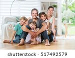 at home  cheerful family of... | Shutterstock . vector #517492579
