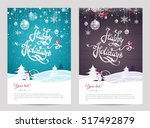 christmas cards with... | Shutterstock .eps vector #517492879
