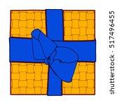 orange gift box present with... | Shutterstock .eps vector #517496455