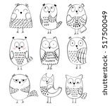 Set Of Cartoon Owls With...