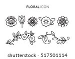 Stock vector set of floral icon in flat design thin line style 517501114