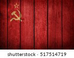ussr  soviet flag on old wood... | Shutterstock . vector #517514719