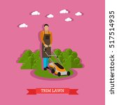 gardener trimming lawn. garden... | Shutterstock .eps vector #517514935