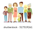 happy family portrait  flat... | Shutterstock . vector #517519261