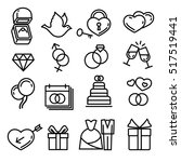 modern thin line wedding icons. ... | Shutterstock . vector #517519441