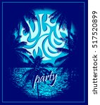 full moon party   vector poster ... | Shutterstock .eps vector #517520899