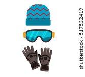 ski gloves  hat  goggles... | Shutterstock .eps vector #517532419