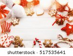christmas cookies and toys on... | Shutterstock . vector #517535641