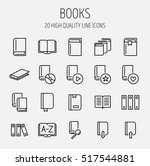set of book icons in modern...