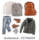 set of stylish winter clothes... | Shutterstock . vector #517546549