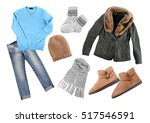 set of stylish winter clothes... | Shutterstock . vector #517546591
