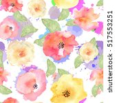 floral seamless pattern with... | Shutterstock . vector #517553251
