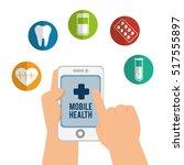 hand holds smartphone mobile... | Shutterstock .eps vector #517555897
