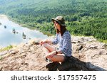 girl on the hill | Shutterstock . vector #517557475