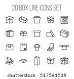 set of box icons in modern thin ... | Shutterstock .eps vector #517561519