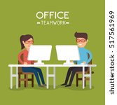 office teamwork people using... | Shutterstock .eps vector #517561969