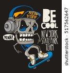 vector skateboard skull design | Shutterstock .eps vector #517562647