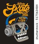 vector skateboard skull design | Shutterstock .eps vector #517563484