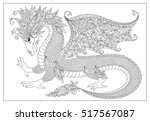Vector Cartoon Dragon. Hand...